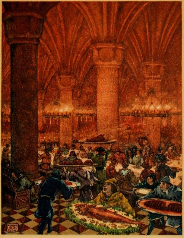 The palace gates were thrown open to all comers; rich and poor might sit down and eat The romance of Tristram and Iseult  Joseph Bédier  illustrated by Maurice Lalau. 1910