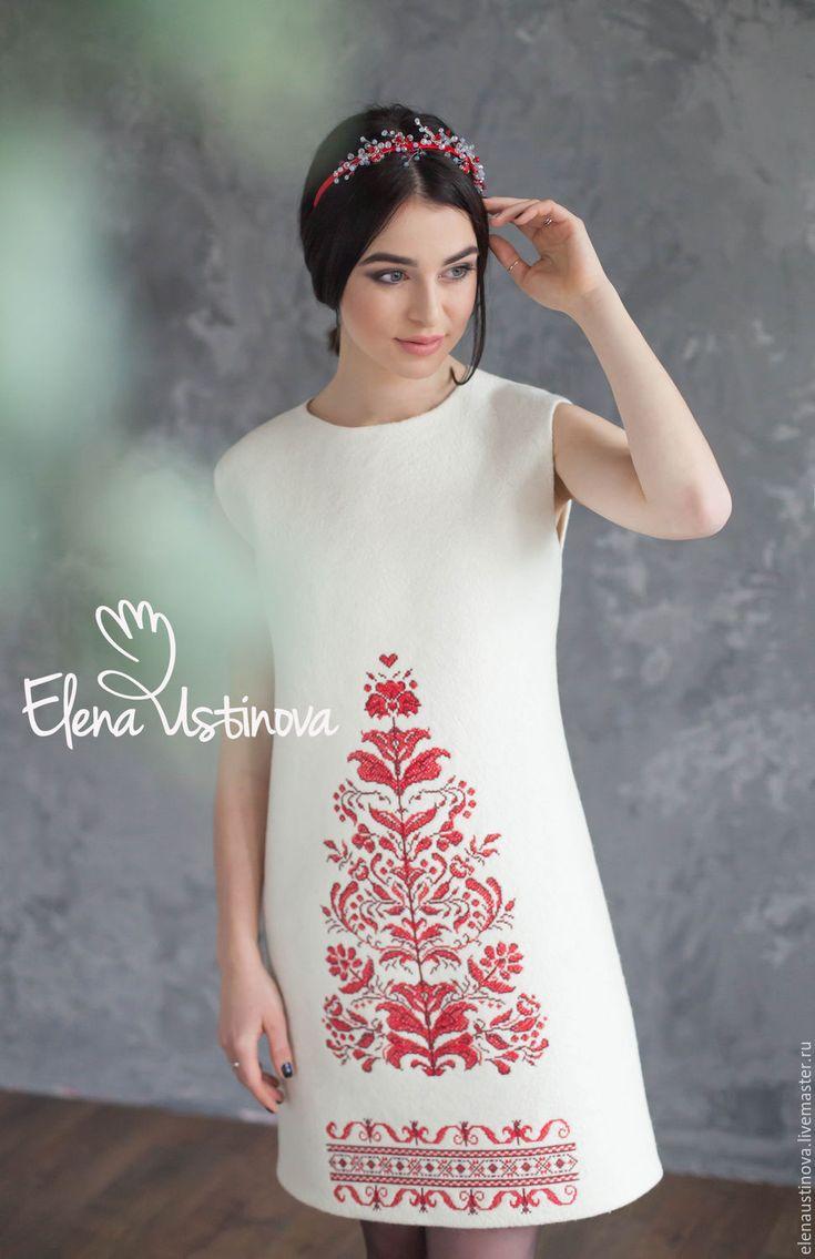 Купить или заказать Платье валяное 'Нежность'. в интернет-магазине на Ярмарке Мастеров. В последнее время вышивка на подиумах присутствует практически каждый сезон. И, если бы пришлось искать одно объединяющее для нее слово, можно сказать, что она этническая. В этом платье объединены два тренда этого сезона: этическая вышивка и белый цвет. Красивое сочное сочетание. Неизменно привлекает взгляд украшает обладательницу платья. Платье бесшовное, выполнено в технике мокрого вал…