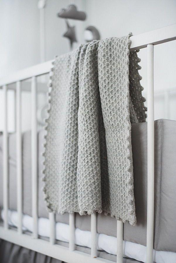 Light Grey Knitted Woolen Blanket Wool Baby Blanket Baby