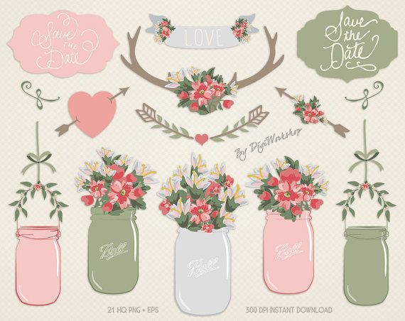 Mason Jar Clip Art Clipart: #Digital Mason Jar Clip Art #Clipart - digital mason jar clip art incl #wedding bouquet, bridal flowers and flower elements - Great for Invitations... #etsy #digiworkshop #scrapbooking #illustration #creative #printables #cardmaking #floral #flower