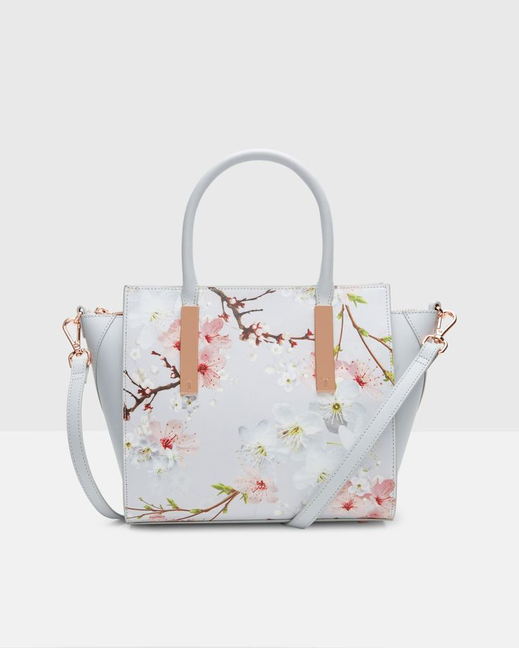 Oriental Blossom leather tote bag - Light Gray | Bags | Ted Baker
