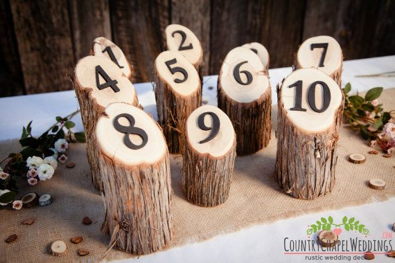 Rustic Wedding Table Numbers Juniper Log Table by CountryChapel
