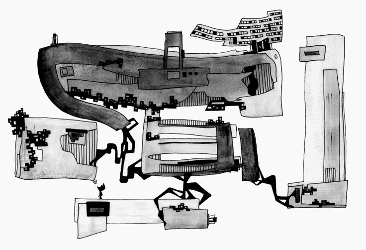 Francois Pretorius - A Minefield of Faulty Lines & Fallacies (2014) #art #illustration #indianink #design #strikes #fineart #mines