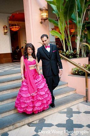 indian wedding bride groom reception outfits hot pink lengha http://maharaniweddings.com/gallery/photo/12054