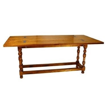 Rustic Folding Top Table In Tiger Maple With Stretcher Base   Leonards  Antiques
