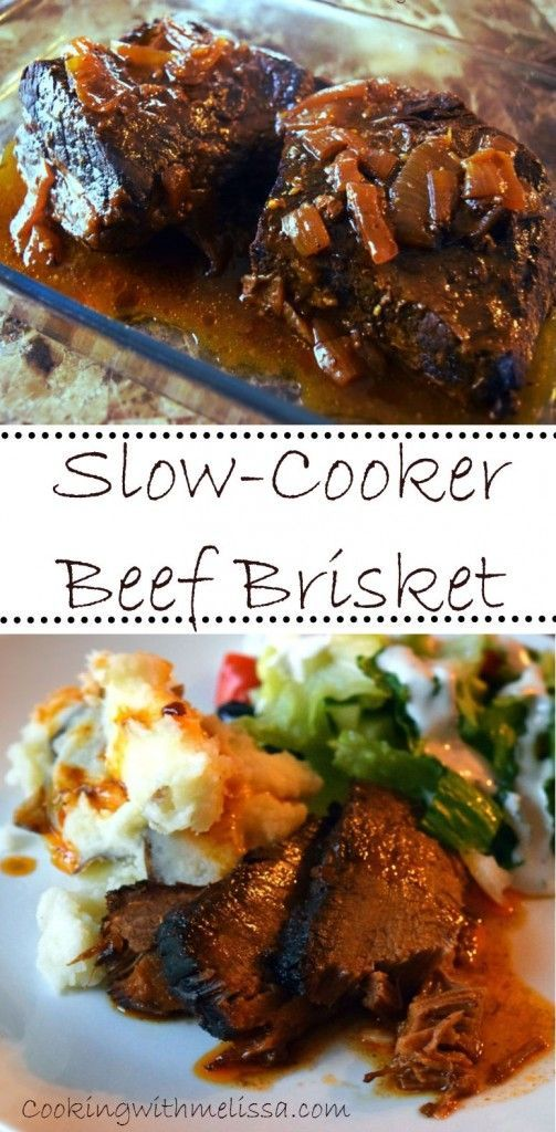 Slow-Cooker Beef Brisket.  One step Brisket Recipe.  Anyone can make this!