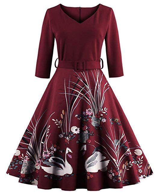b6c14330cb621 ZAFUL Women's 50s Vintage Floral V-Neck 3/4 Sleeve Party Swing ...