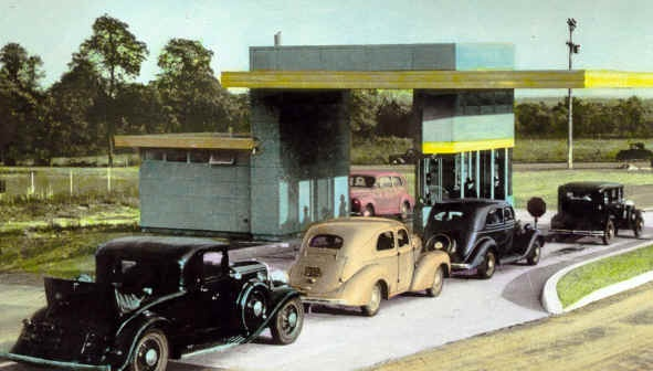 In 1940 the Pennsylvania Turnpike opens. People line up to pay for the experience of driving on an open highway.