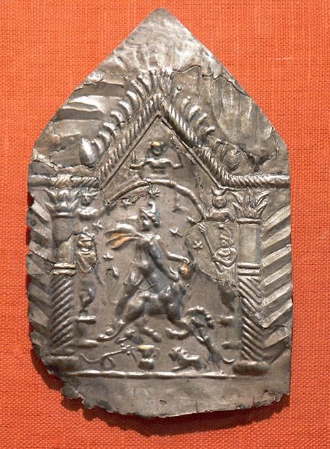 Roman votive made of silver depicting Mithras, Saalburg Museum, Germany.