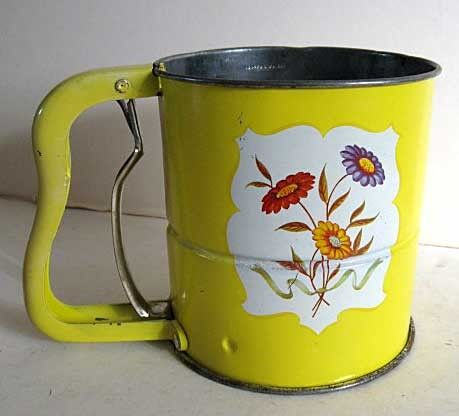 Nice 1950 Vintage Androck Kitchen Flour Sifter Bright Yellow with Flowers