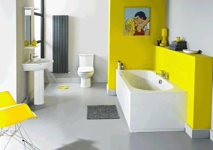 Не дорогое решение для оформления ванной комнаты с яркими и сочными оттенками желтого #дизайн_ванной #желтая_ванная_комната #современная_ванная_ комната #современный_дизайн #не_дорогая_ванная_комната