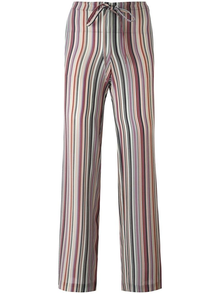 Shop Theory Striped Straight Trousers at Modalist