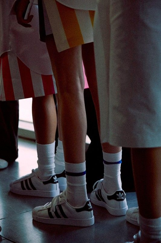 Adidas sneakers and socks backstage at Jacquemus SS15 PFW