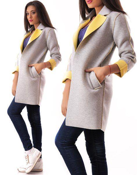 Удлиненный пиджак серо-желтый Soho