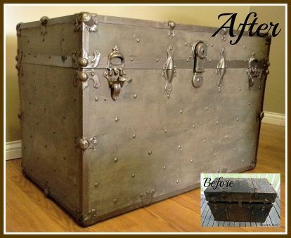 rusted vintage trunk makeover, cleaning tips, painted furniture