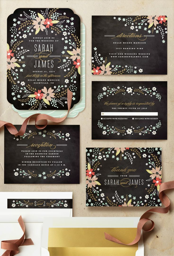 Adorable floral black and gold wedding invitation