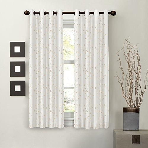 Maytex Mills Jardin Embroidered Thermal Window Curtain 54 by 63-Inch Natural