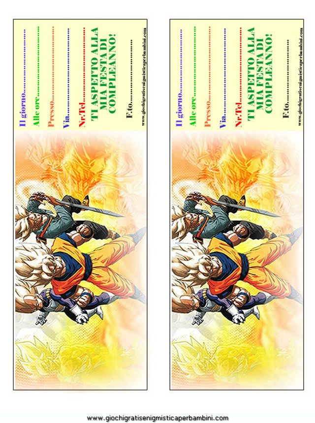 Inviti Compleanno Di Dragonball Inviti Di Compleanno Inviti Per Festa Compleanno