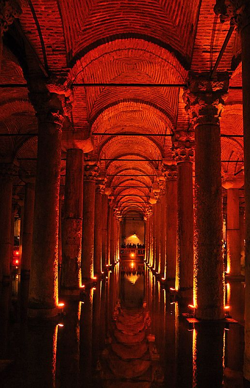 Basilica Cistern, 138 x 65 m, supported by 336 marble columns, Istanbul, Turkey. Built by emperor Constantine after 532. Astrogeo pos.: located in water sign Cancer sign of springs and drinking water & massive, endurable, fertile earth sign Taurus sign of food supply and storing food and indicator for the underground building. Valid for field level 3.