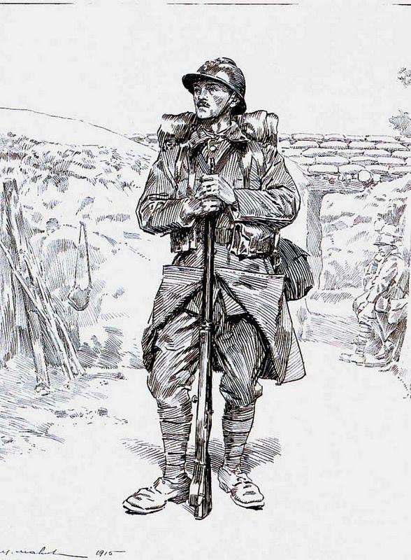 1915 m mahut soldat d 39 infanterie nouvelle tenue dessin la plume et l 39 encre noire 63x48 - Dessin de soldat ...