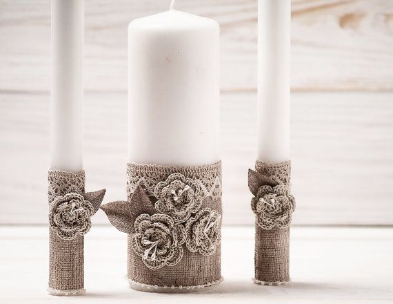 Unity Candle Rustic Wedding Candle Set Rustic Wedding Unity Candle  Burlap and Lace Rope
