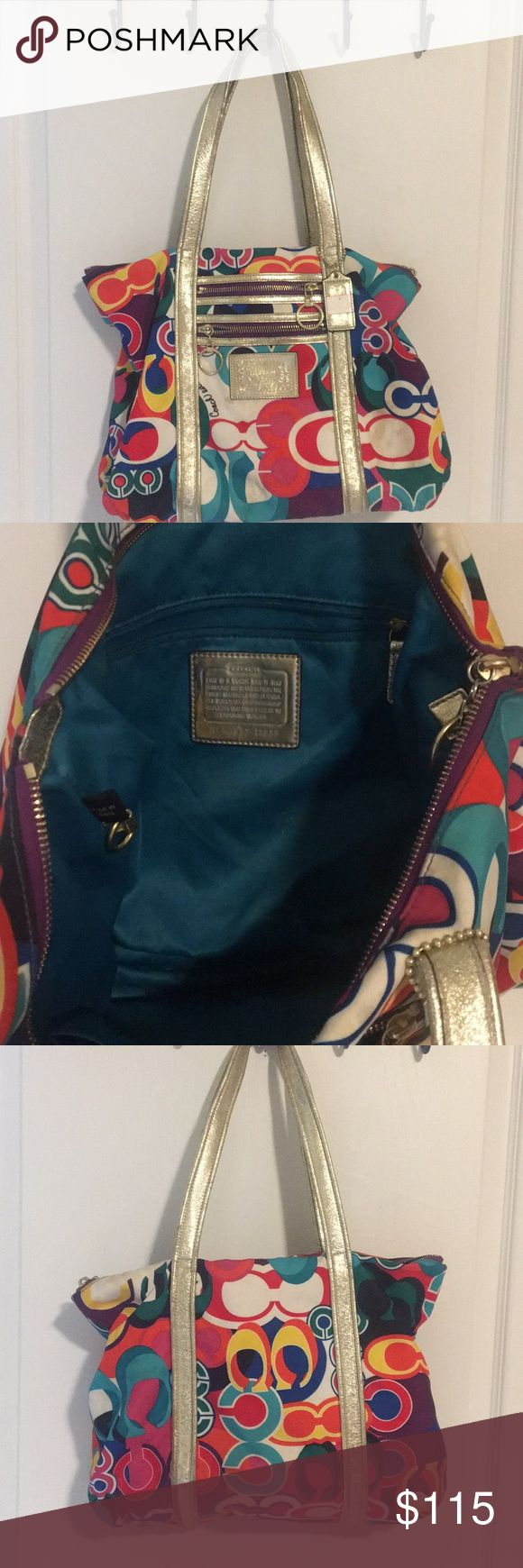 Coach poppy purse Coach poppy bag. Gold and very colorful. It's used so I will get it professionally cleaned when purchased. I will include the cleaning receipt in packaging. Will be like a brand new purse! Coach Bags Shoulder Bags