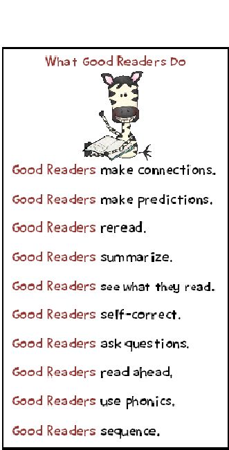 Free Bookmarks: What Good Readers Do