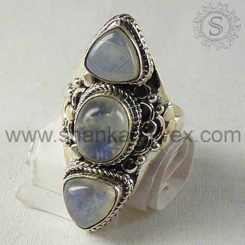 Rainbow Moon Stone 925 Silver Ring