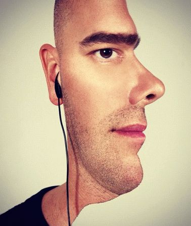 Optical illusion : the face seen from the front but also in profile
