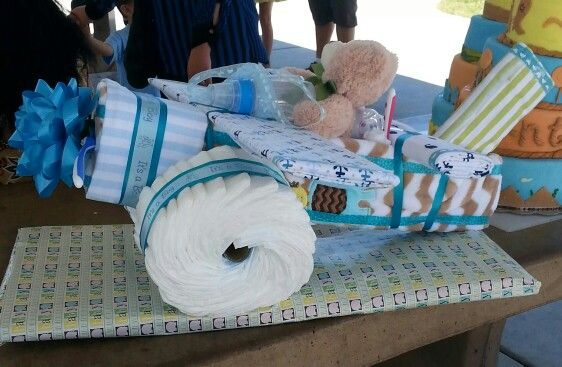 Airplane Diaper cake- here is the link of the video I used to make this diaper cake:   https://www.youtube.com/watch?v=vEc2G_yiT9Y