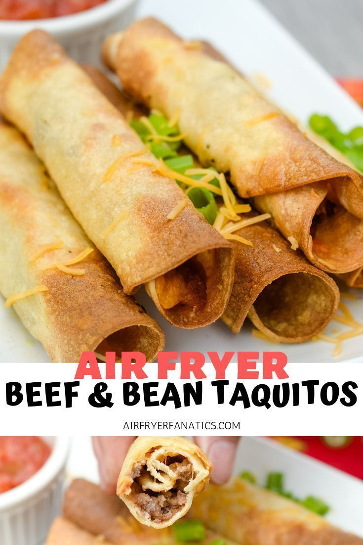 Air Fryer Beef & Bean Taquitos in 2020 Air fryer dinner