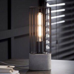 Bordlampe, cylinder formet metal og beton fod