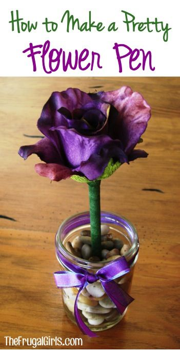 How to Make a Pretty Flower Pen! ~ from TheFrugalGirls.com ~ jazz up your desk, or give some pens as gifts in a cute little mason jar! #masonjars #flowers #thefrugalgirls