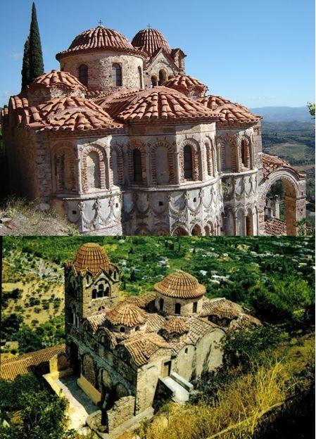 Mistra (Grèce), église de la Pantanassa, première moitié du XVe siècle. Vue extérieure.