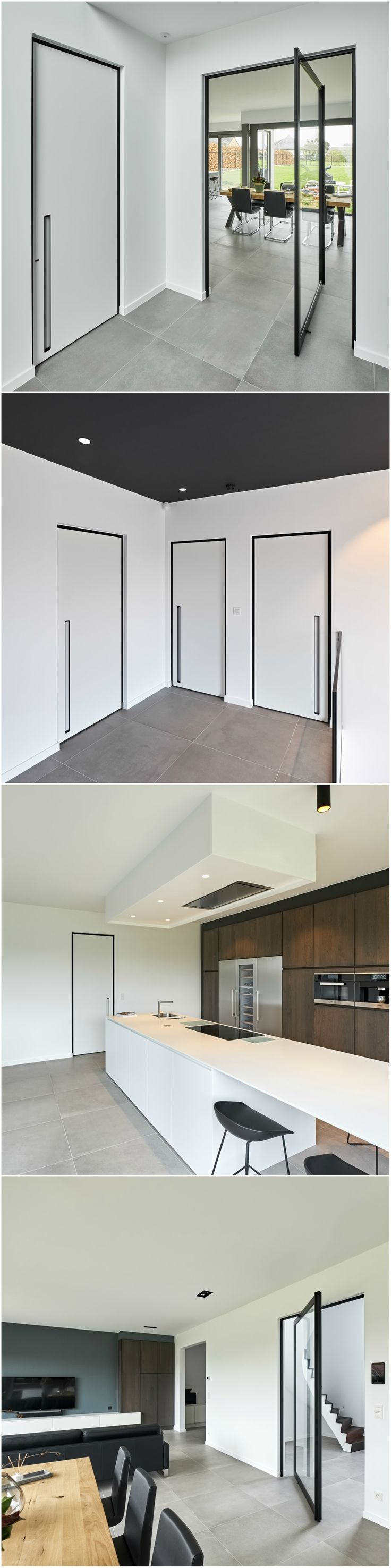 "Modern interior doors ""black & white"" designed by ANYWAYdoors.  These door all feature the same black minimal anodised aluminium BKO door frame. The plain doors are finished in a white Resopal Massiv panel RAL9016 and a built-in vertical door handle. The glass pivot door features a black anodized ""steel look"" frame and transparent tempered glass. #moderndoors #designdoors"