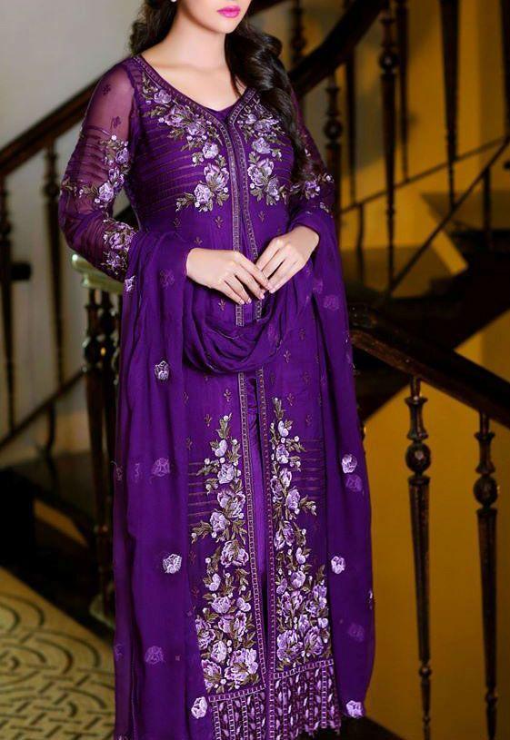 Buy Indigo Embroidered Chiffon Dress by Embellish 2015.
