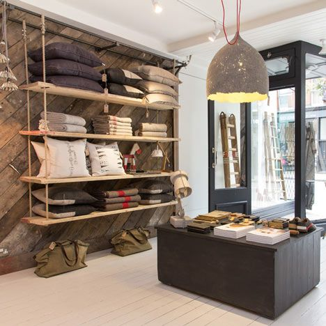 rope shelvesLondon, Features Wall, Shops, Shelves, Retail Stores Design, Interiors Design, Folklore, Display, Wood Wall