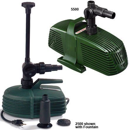 Fish Mate 5500 Pond Pump by Fish Mate. $312.08. Great Gift Idea.. Satisfaction ensured.. High quality components.. Design is stylish and innovative. Satisfaction Ensured.. Manufactured to the Highest Quality Available.. Submersible only, High power pond pump with ceramic bearings and an anti-clog, pond-life friendly casing. Easy to install and easy to maintain. A single control knob adjusts water flow to fountain and filter/waterfall. Easily adapted to provide...