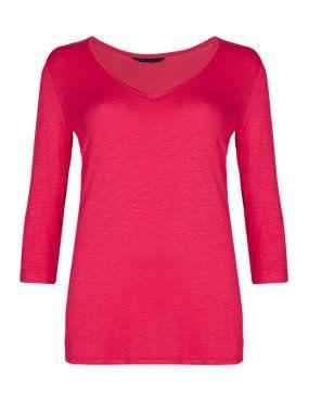 Rose V-Neck Slub T-Shirt