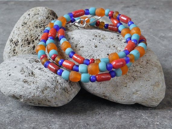 Colorful Ethnic Strand Necklace, Glass Beaded Necklace, Native American Southwestern Colors, Ethnic Bohemian Boho Beach Gypsy Surfer Jewelry