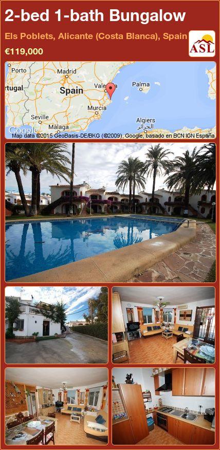 2-bed 1-bath Bungalow in Els Poblets, Alicante (Costa Blanca), Spain ►€119,000 #PropertyForSaleInSpain