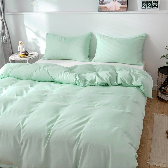 Light Green Autumn Winter 3 Piece Comforter Cover Set Duvet Cover Warm Bedding Sets Concise Style Qu Mint Green Rooms Green Rooms Mint Bedroom