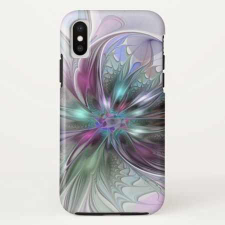 Colorful Fantasy Abstract Modern Fractal Flower iPhone X Case - tap to personalize and get yours