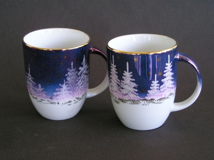 Talvine Maastik Kruus Käsimaal Winter Wonderland Mug Hand Painted