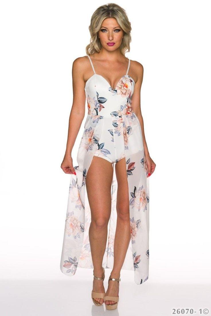 Κοντή φλοράλ ολόσωμη φόρμα με σιφόν ύφασμα.Ύψος μοντέλου: 1,72m92% Polyester 8% Elastane