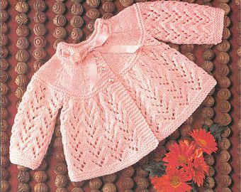 """Vintage Emu Baby Knitting Pattern, Size 17 - 19"""", 6 - 12 months, Matinee Coat, Cardigan, 3 ply, 4 ply, Double Knitting"""