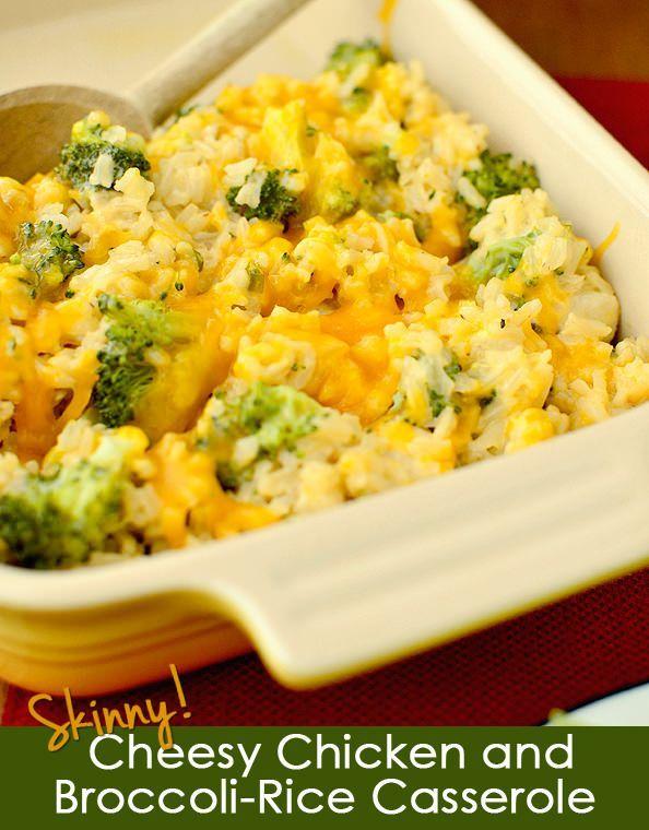 Skinny Cheesy Chicken and Broccoli-Rice Casserole | iowagirleats.com