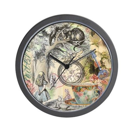 Cheshire Cat Alice in Wonderland Wall Clock on CafePress.com