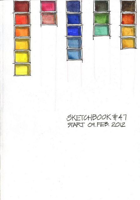 borromini bear - she always starts a new sketchbook with her current palette.