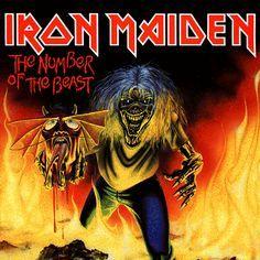 """The Number of the Beast (single)   Iron Maiden  O Eddie que carrega a cabeça do demônio foi a última obra de Riggs relacionada ao tema do disco """"The Number of the Beast""""."""